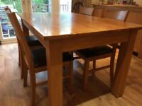 (Reduced price) Solid Oak dining table and 4 chairs