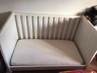 SUNDVIK Ikea white cot bed with premium mattress