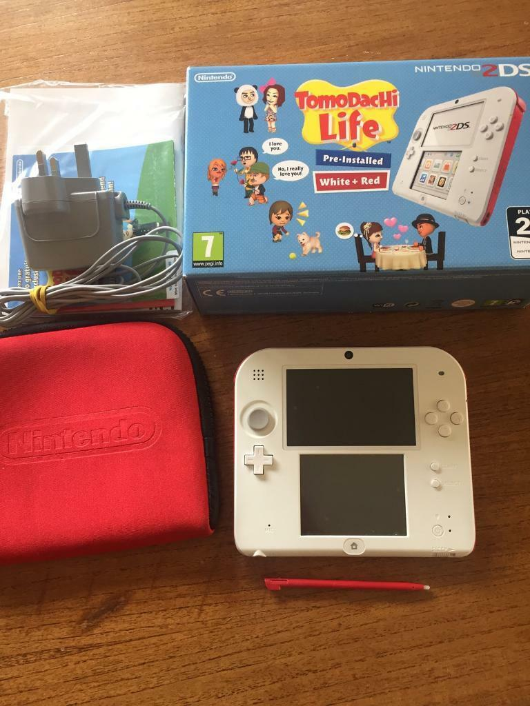 nintendo 2ds red and white console tomodachi life version case