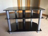 Black Glass Corner TV Stand - £20