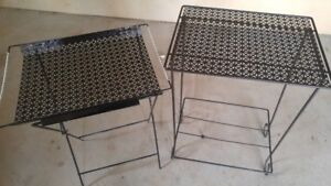 STUDENTS!  Two Lightweight Black Metal Side Tables
