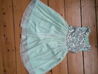 Girls sequin dress, pale green Monsoon size 4 years excellent condition