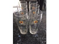 Set of 6 new, Fosters branded pint glasses.
