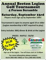 Beeton Legion Scramble Golf Tournament