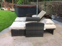 Rattan love seat (recliners)