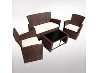Rattan Sofa Set Dark Brown