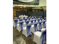 Chair cover hire with sashes 99 p all colours set up free all occassions beautiful