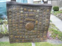 Antique Moroccan leather satchel decorated with coins