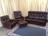 G Plan 3 Piece Suite Teak & Vinyl 3 Seater Sofa 2 Armchairs & Footstool 1960's Retro - FREE Delivery