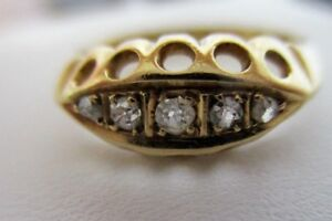 Antique (1863) 18k Yellow Gold ring with mine cut Diamonds