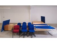 Office Desks x 6 with Drawers x 7 and Partitions, Office Chairs