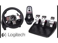 logitech g27 with pedals shifter and flight stick handbrake for drift