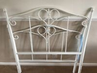 Feather & Black White Metal Single Bed Frame