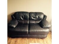 Large 2 seater chocolate brown leather sofa