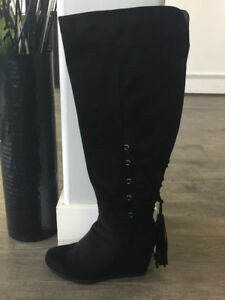 Thigh high Black wedge Boots