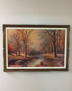 Vintage picture with ornate wood frame