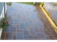 Autumn brown Indian sandstone paving slabs flags
