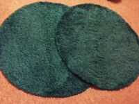 2 round teal turquoise shaggy rugs