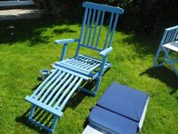 Wood Steamer Sun Lounger with cushion cover