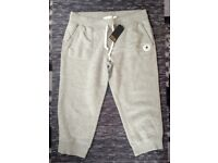 Womens Converse 3/4 Tracksuit Bottoms Vintage Grey Heather - Size Large - Cuffed Bottom