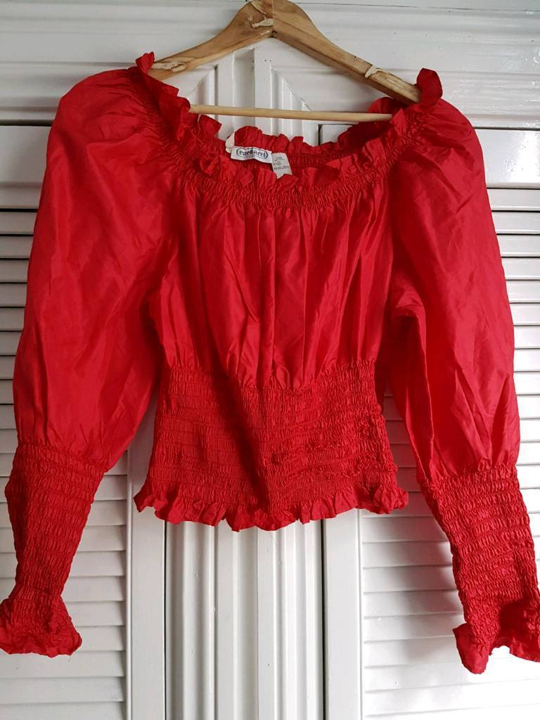 Cacharel red 100 % silk vintage top.size 38