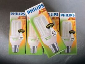 Philips Genie Energy Saver Light Bulbs **BRAND NEW BOXED** 11w (60w equivilent) Bayonet Fitting