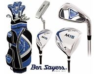 BEN SAYERS M15 RIGHT HANDED STEEL IRONS 5 - SW + 1 INCH LONGER BLUE & M15 PUTTER