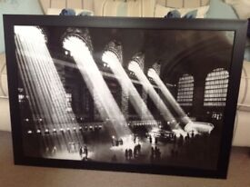 Black framed picture of New York Grand Central Stationide, 69cm high, 99cm wide, very good condition