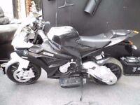 childrens battery operated bmw motorbike 12v black & white