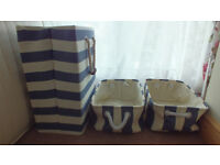 Nautical blue and white striped Laundry Basket Towel Storage with Two Nautical Storage Baskets