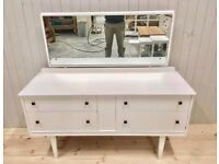 Vintage Shabby Chic Dresser With Dovetail Joints & Large Mirror £99
