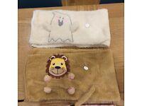 2x Roll-Up Fluffy Animal Travel Blankets