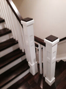 Stairs solid wood  newel post railing and nosing