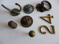 various reclaimed ceiling hooks,door knobs, coat hanger and 2 brass numbers