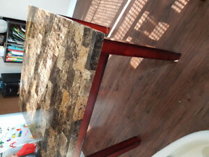 Faux marble table and 4 chairs pub height