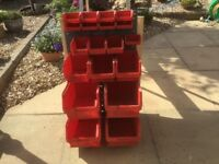 Assorted storage bins with Louverd rack