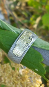 Size 11 band. Eagle gold on Sterling silver.