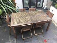 Wooden garden table and 6 chairs