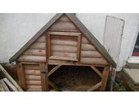 Large rabbit hutch and run