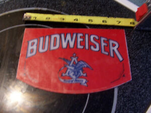 Vintage Glass Budweiser Sign from Beer Tap 7 inches by 4.5 Inche