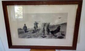 "Duck & Partridge Shooting-two genuine original 1852 sporting prints-Matching frames 33 x 23""."