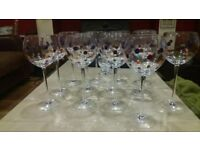 13 pampered chef dotty stem wine glasses in excellent condition