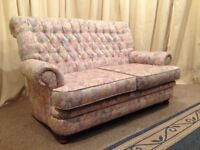 Floral 2 Seater Sofa - High Back Settee - Chesterfield Style - FREE Delivery Available