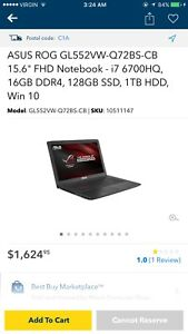 Asus GL552 gaming laptop