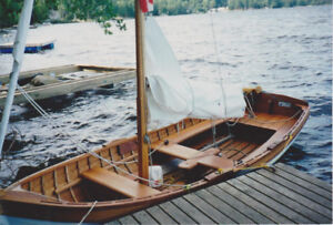 Hand built custom lapstrake wooden sailing dinghy