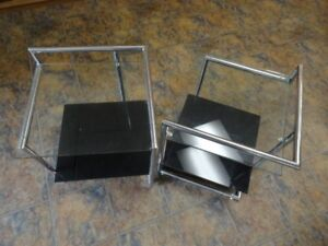 Two Glass and Stainless Steel End Tables