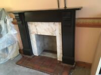 Black Slate and White Marble Fire Surround