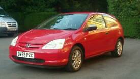 HONDA CIVIC 1.4i VTEC INSPIRE S (2004) 12 MONTH MOT,3-Door,ALLOYS/AIR CON/FULL S/History-Immaculate!