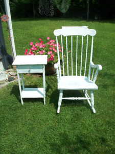 Refinished Rocking Chair and Side Table