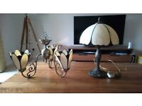 Art nouveau- style light fitting and table lamp
